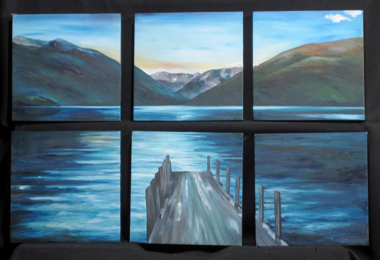 Lake Rotoiti Dawn, 6 Panels onWS
