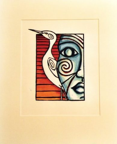 Maoiri face and bird